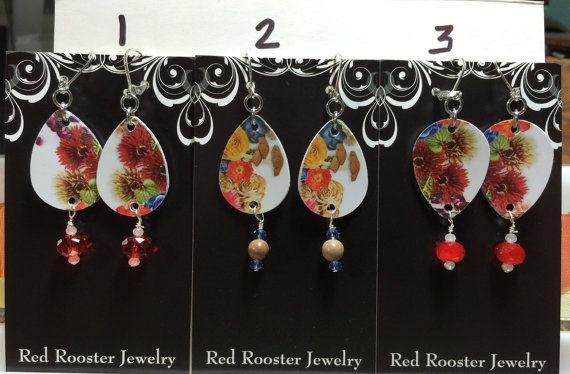 Fall mums flowers recycled gift card handmade earrings guitar