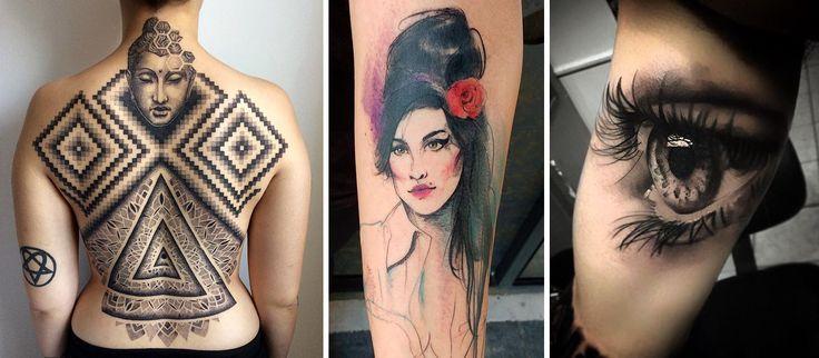 Em 2016 alguns artistas brasileiros se destacaram na cena da tatuagem. Selecionamos 21 deles. Nessa foto os trabalhos de Djorgenes Martins, Camila Deduch e Chico Morbene. #tattoo #tatuagem #realismo #dotwork #pontilhismo #aquarela #watercolor