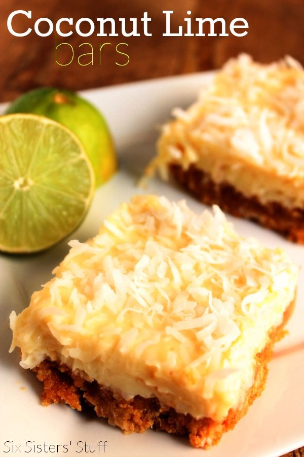 Coconut Lime Bars from SixSistersStuff