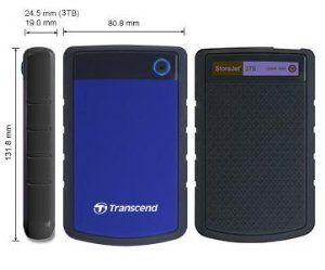Transcend 3 TB 2,5 hüvelykes USB 3.0 StoreJet Military Grade Shock Resistance…