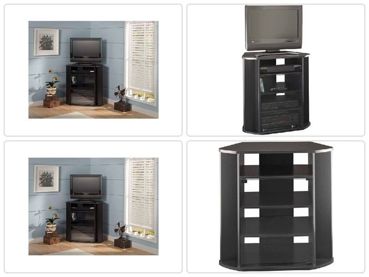Tall Corner #TV #Stand Entertainment #Media Center Black Console TV up to 37'' New