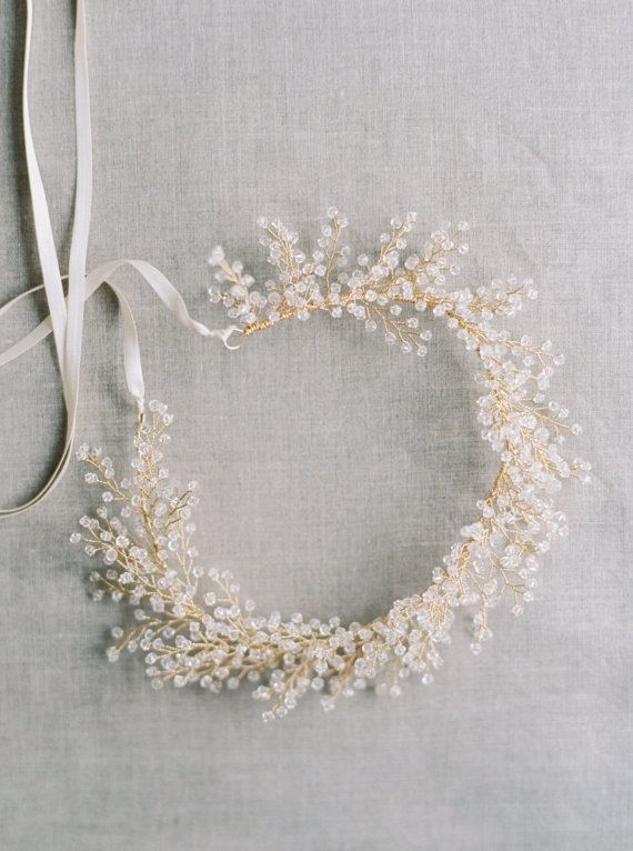 Bridal Crown Crystal Astilbe Flower Crown por MelindaRoseDesign
