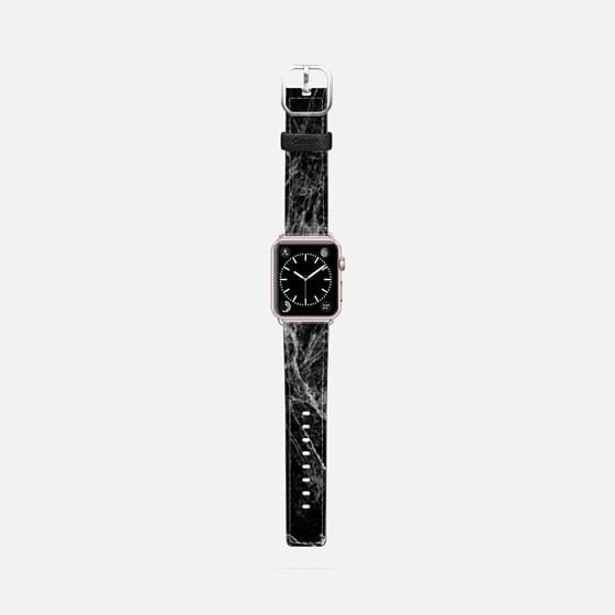 Casetify Apple Watch Band (42mm) Saffiano Leather Watch Band - Modern Trendy Black and White Marble Stone Pattern by BlackStrawberry