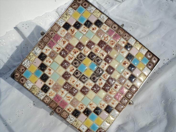 Vintage Mosaic Tile Trivet, 1970's, Multicoloured, Kitchen Counter Saver, Hot Pad, Partner for your teapot. $8.00, via Etsy.