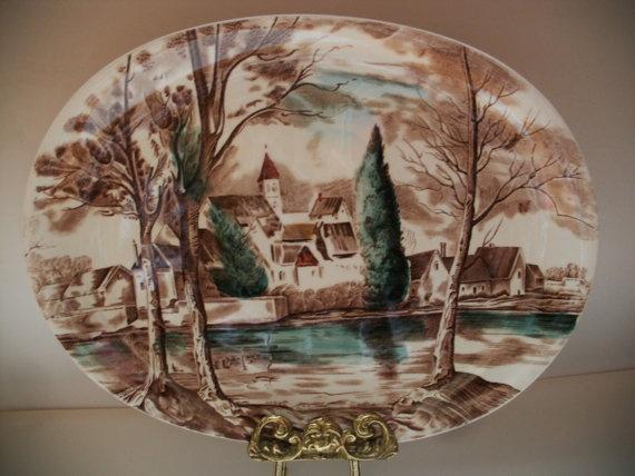 RARE Johnson Bros Dream Town Large Oval Serving Platter 14 1/4