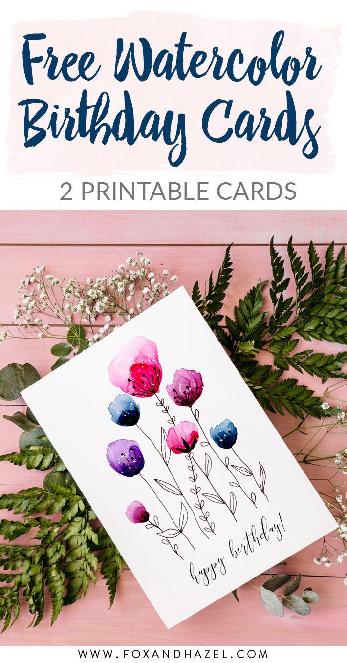 Free Printable Watercolor Birthday Cards Fox + Hazel