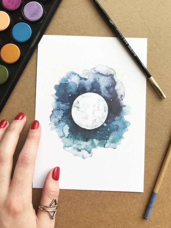 Watercolor Moon Painting Moon Painting Night Sky Watercolor