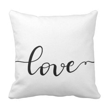 Whimsical Love Handwritten Script Minimalist Throw Pillow - calligraphy gifts custom personalize diy create your own