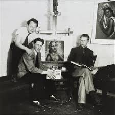 Theo Schoon and Gordon Walters hang out with Dennis Knight Turner in Wellington in the 1950s.