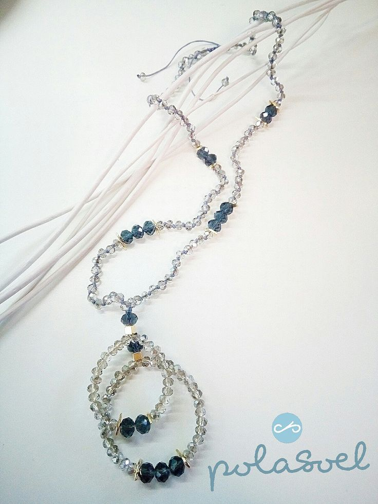 Crystal necklace, with iridescent grey smoky(dark and light) crystals,with gold plated elements and macrame claps. by polasoeljewelry on Etsy