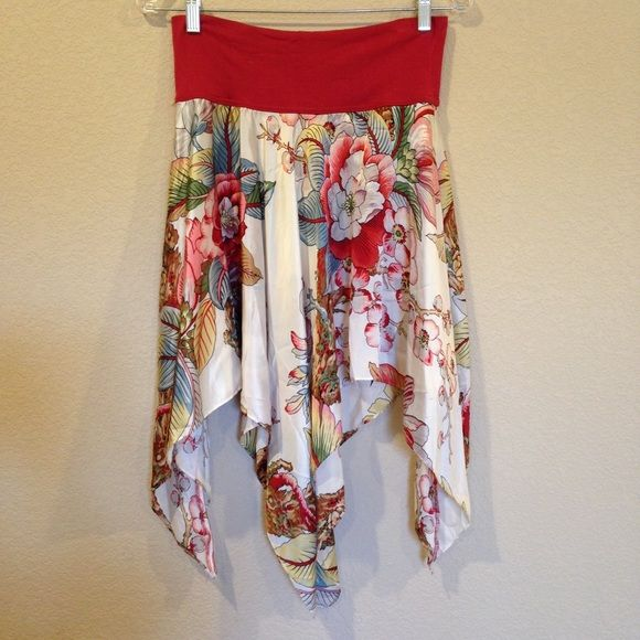 Silk handkerchief hem skirt/bandeau top Gorgeous cherry blossom print silk with jersey knit contrasting top band. can be worn as either a skirt or a bandeau top. Super flattering fit! Great used condition. Simple Skirts Midi