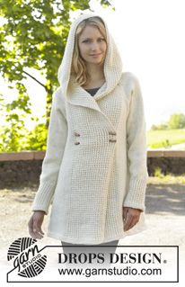"""Snow Princess - Knitted DROPS jacket with raglan, hood and bamboo pattern, worked top down in """"Nepal"""". Size: S - XXXL. - Free pattern by DROPS Design"""