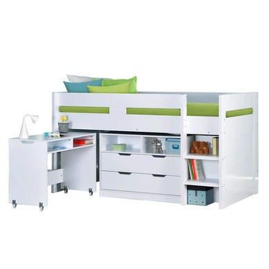 Buy Cosmo Mid Sleeper Bed in White with Pull Out Desk from Furniture123 - the…