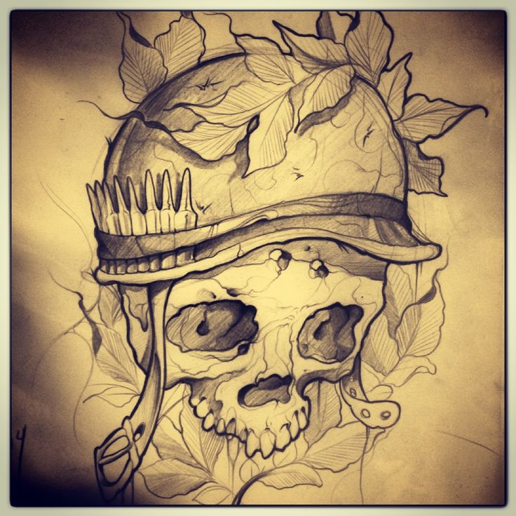 #calavera #skull #hojas #casco #helmet #militar #military #balas #bullet