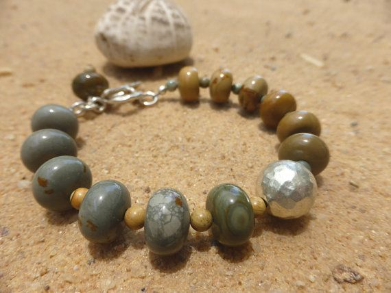 Picture Jasper and Sterling Silver Bracelet Karen Hill by Lapideum