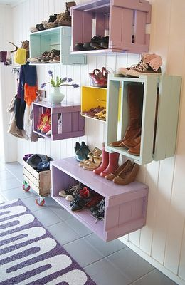 very cool entryway storage also could house components and decorative items in livingroom or family room, books in a funky bookcase!