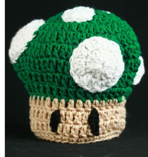 "Free Crochet Pattern – ""1 Up"" Mushroom Baby Hat 