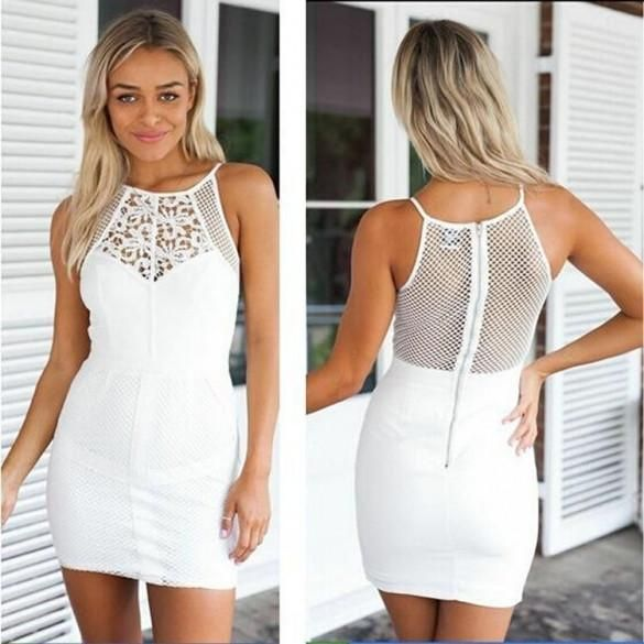 Stylish Ladies Women Sexy Spaghetti Strap Hollow Out Back Slim Casual Mini Dress