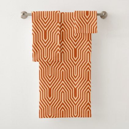 #Art Deco Geometric - mandarin orange Bath Towel Set - #deco #gifts