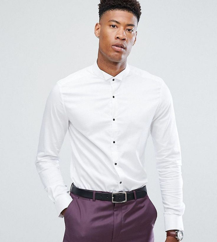 ASOS TALL Slim Sateen Shirt with Wing Collar And Contrast Buttons - Wh