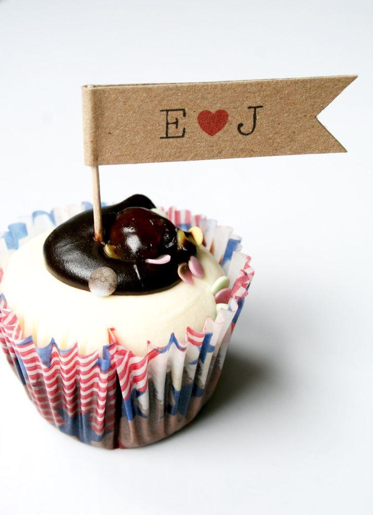 18 Personalised Wedding Cupcake Flags, Engagement, Anniversary, Cupcake Toppers - Personalised Cupcake Decoration by LittleIndieStudio on Etsy https://www.etsy.com/listing/194474344/18-personalised-wedding-cupcake-flags