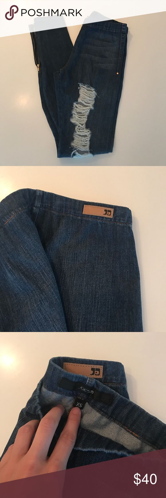 NWOT Joe's Jeggings size XS Ripped jeggings, never been worn, zippers on the ankles, elastic band Joe's Jeans Pants
