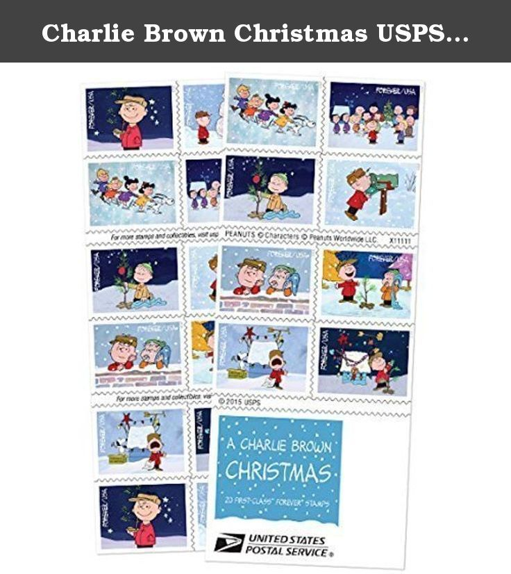 Charlie Brown Christmas USPS Forever Stamps (5 pack). The stamp images include: Charlie Brown holding the sapling that eventually becomes his Christmas tree; Charlie Brown and Pigpen with a snowman; Snoopy and children ice skating; the cast of the program gathered around the Christmas tree; Linus kneeling by the sparsely decorated Christmas tree; Charlie Brown checking his mailbox for a Christmas card; Charlie Brown and Linus leaning on a snowy brick wall; Charlie Brown and Linus standing…
