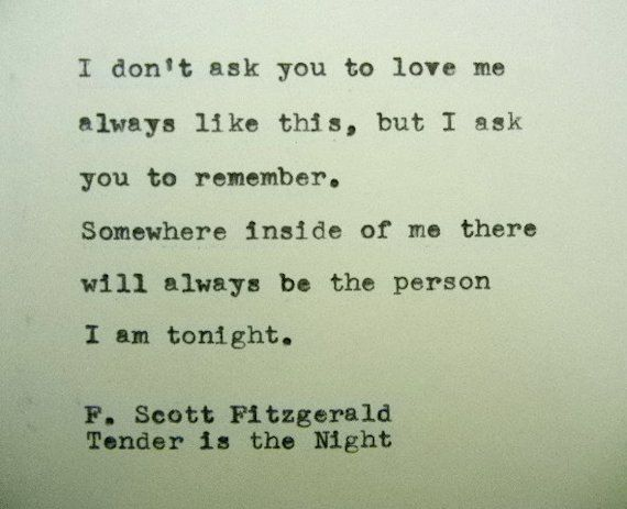 F. SCOTT FITZGERALD Love Quote Handtyped on by PoetryBoutique, $9.00