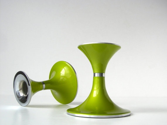 Lime Green Emalox of Norway Candelsticks.