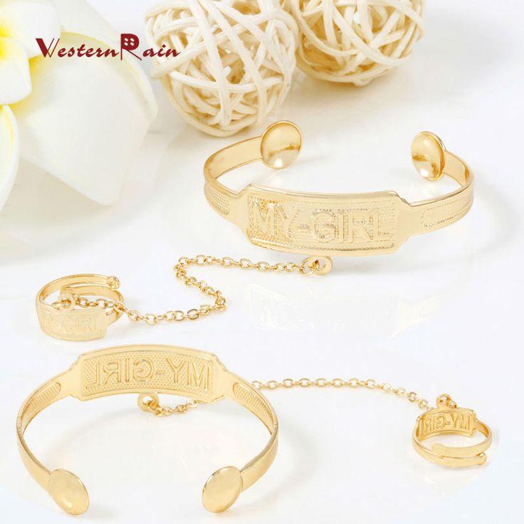 """""""Mi chica 'kid sistemas de la joyería de moda brazalete de la pulsera con el anillo de 2017 chapado en oro joyas de los niños para la muchacha westernrain # a721"""