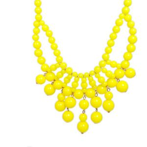Neon Yellow Beads Bib Statement Necklace, Bubble Necklace, Beaded Necklace, Beadwork Neckalce, Party Jewekry-129424569