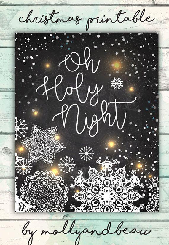 Christmas Printable, Oh Holy Night, Printable Christmas Art, Christmas Song Printable, Christmas ...