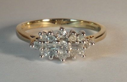 Vintage Victorian Style Ladies Diamond Cluster Engagement Ring in 9ct Yellow Gold FREE POSTAGE