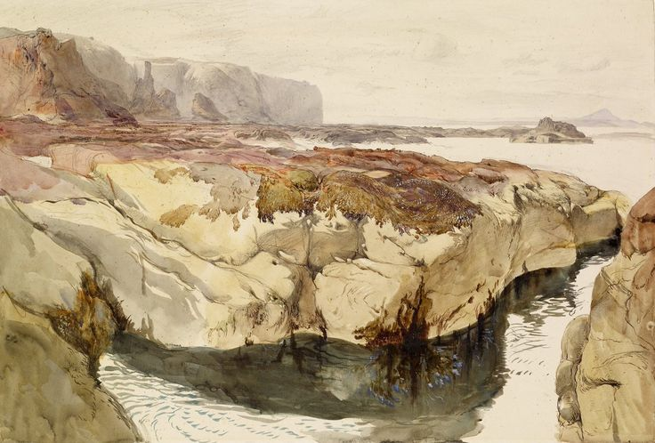 Coast Scene near Dunbar  John Ruskin © Birmingham Museums and Art Gallery Description Edge of a rock pool. Seaweed covers the top of the rock and can be sen growing in the water underneath. In the background, on the left, are cliffs. The view on the right looks out to sea.   Artist Artist John Ruskin   Dimensions 325mm x 475mm   Medium Watercolour over pencil on paper.   Acquisition Presented by an anonymous donor, 1907.