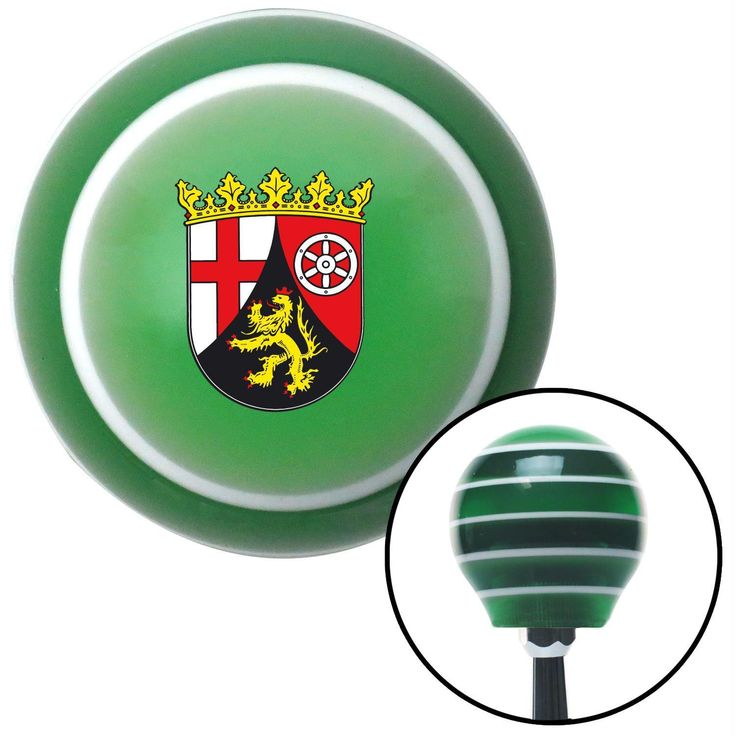 Rhineland Palatinate Coat of Arms Green Stripe Shift Knob with M16 x 15 Insert