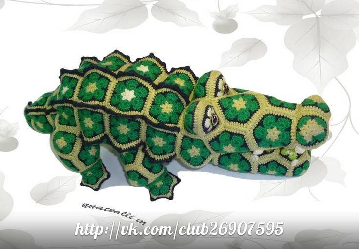 african flower crochet motif crocodile