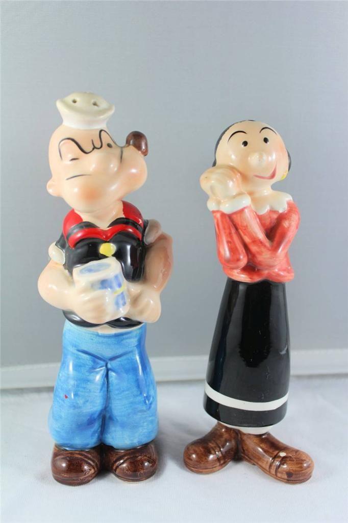 RARE Porcelain Popeye Olive Salt Pepper Shakers | eBay
