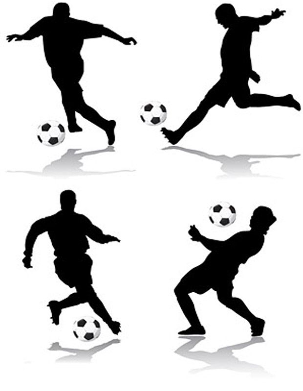 Football action figure silhouettes vector