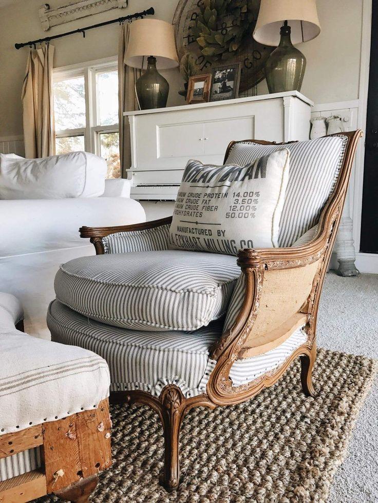Ticking Stripe Antique Chair