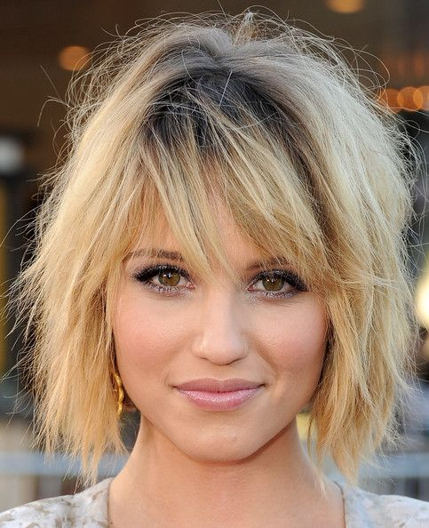Dianna Agron Bob    I like how piecey and messy this is.