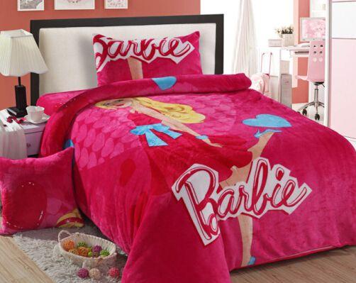 の女の子暖かい夕食速い船積みバービーツイン寝具王女寝具ピンク布団セット寝具セット冬フルツインベッド