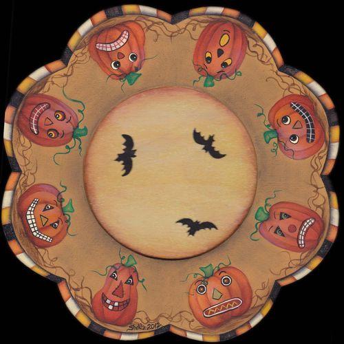 sheila landry painted pumpkins so cute - Halloween Ceramic Plates