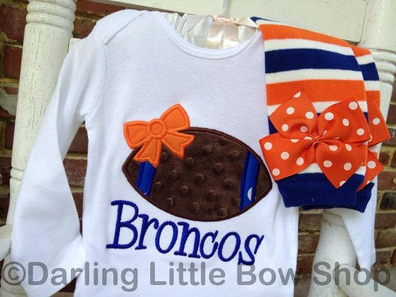 Baby Girl Football oufit, can be customized to many team names and colors.  Denver Broncos shown.