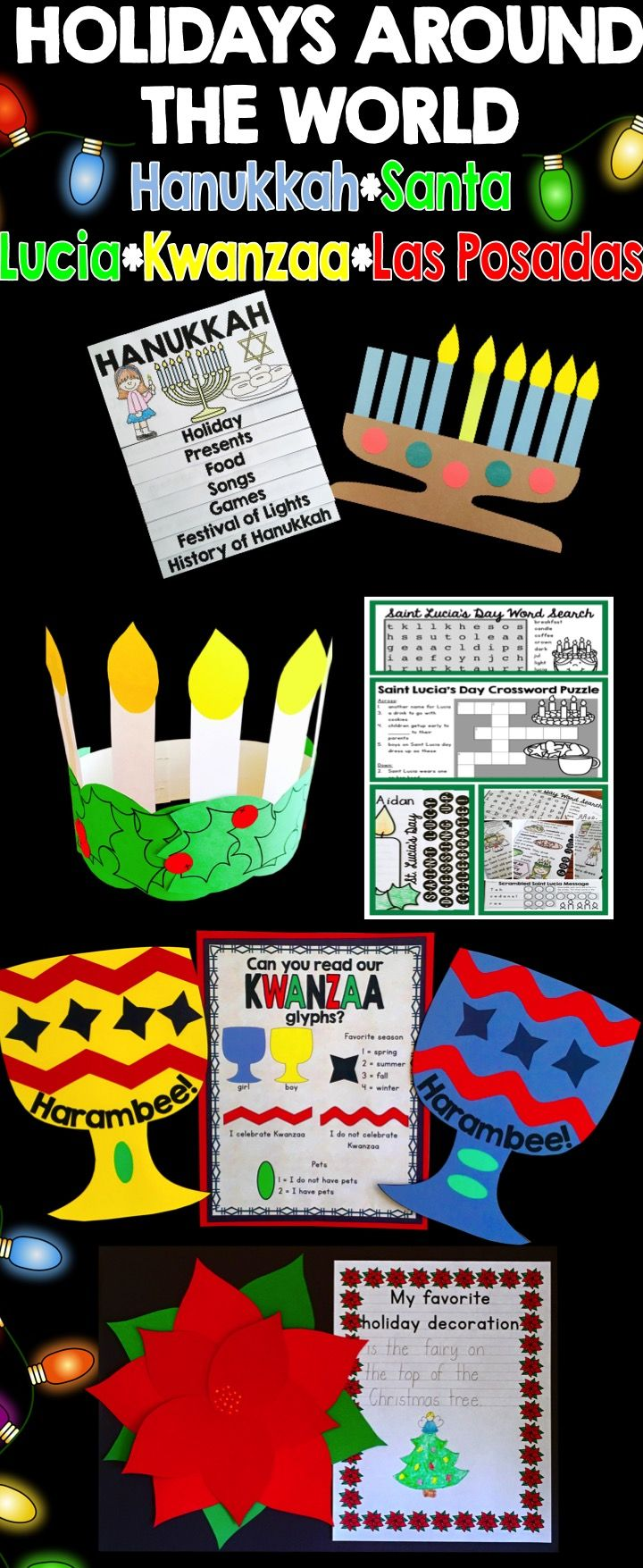 Holidays around the World craft activity bundle for Christmas in Mexico, Hanukkah, Santa Lucia and Kwanzaa.  Each holiday comes with a flip book.