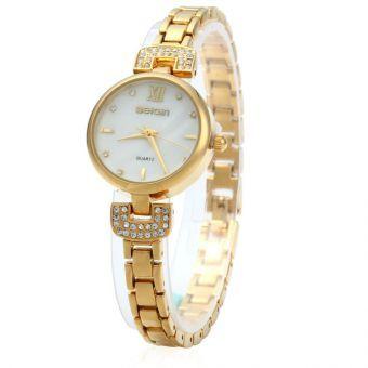 WeiQin 2620 señoras reloj de cuarzo del Rhinestone de la perla de Shell Dial  Golden white