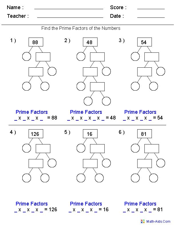 Prime Factorization Trees Factors Worksheets- Use for homework or in class assignment