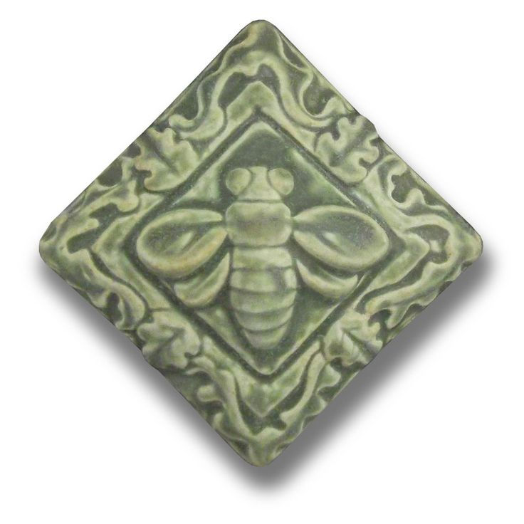 Whistling Frog Tile Company Bee Floral 4x4 Tile, Artistic Artisan Designer Hand Made Tiles