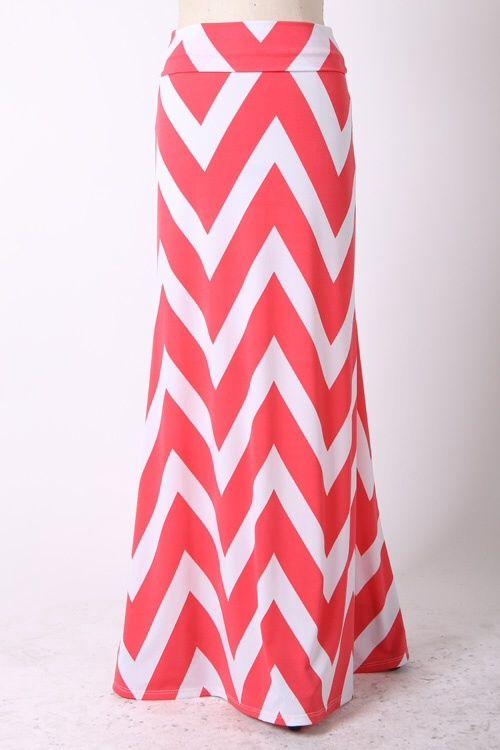 Kelly Brett Boutique: Women's Online Clothing Boutique - Plus Size Chevron Maxi Skirt Coral, $34.00 (http://www.kellybrettboutique.com/plus-size-chevron-maxi-skirt-coral/)