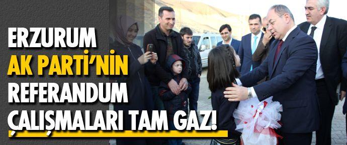 Cumhurbaşkanlığı hükümet sisteminin de oylanacağı Yeni Anayasa değişikliğini içeren referandum için Ak Parti'nin Erzurum ilçe turları devam ediyor.