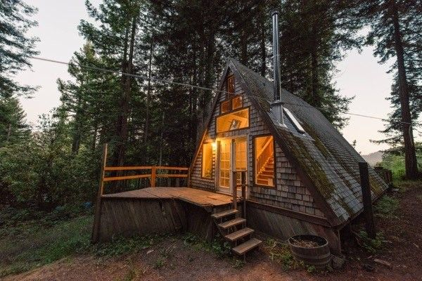 a-frame cabin in the Redwoods